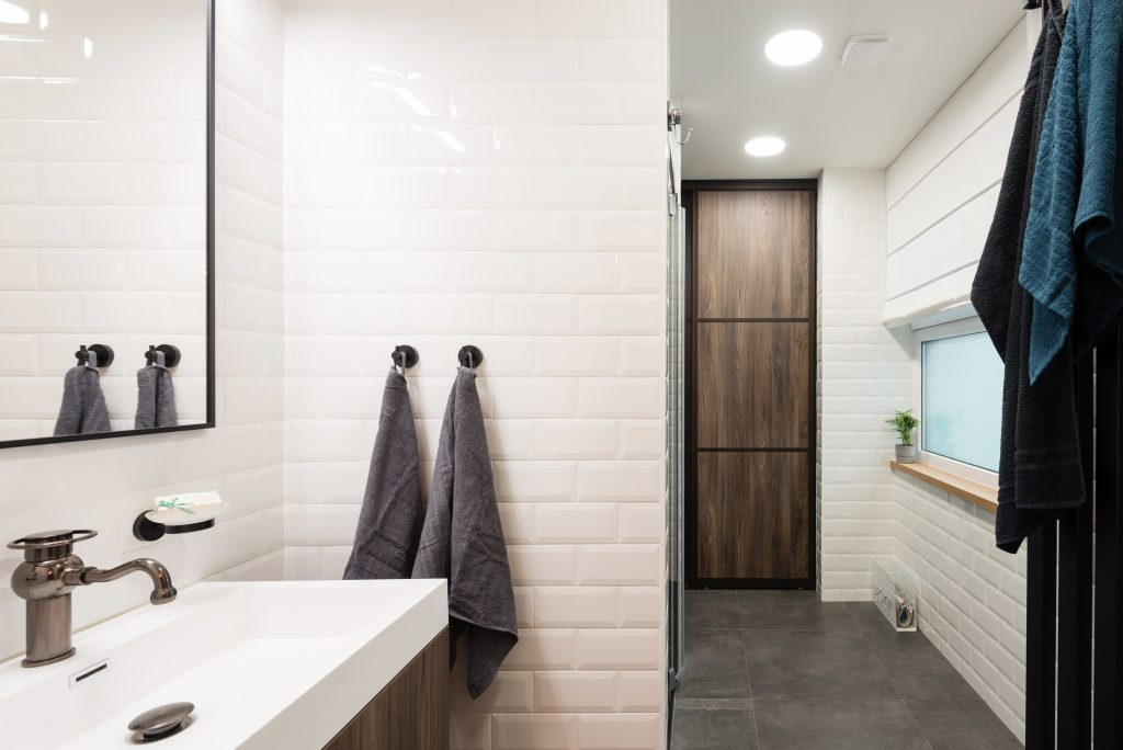 white bathroom with clean towels