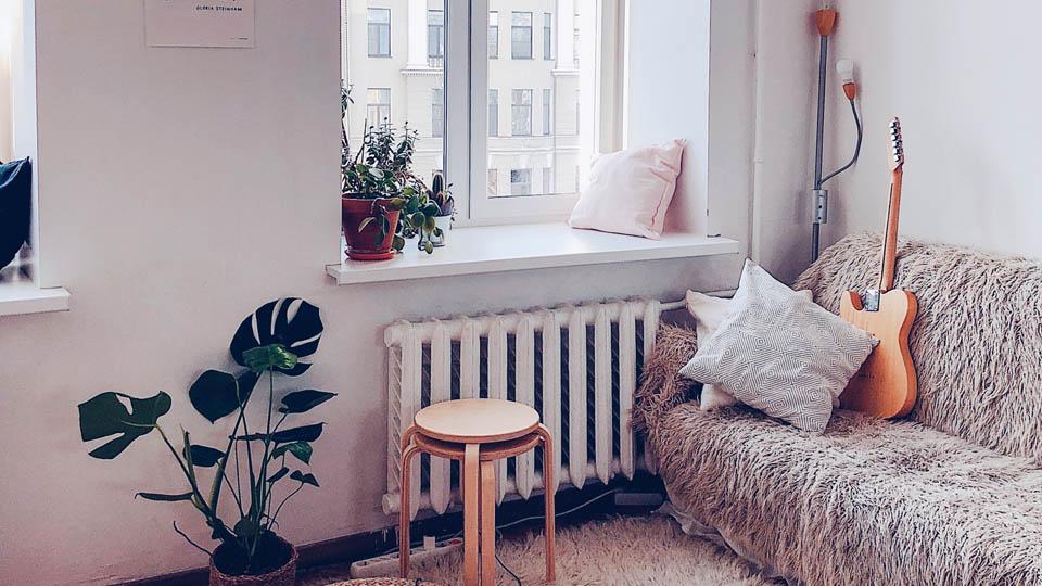 Salon d'une colocation avec canape, plantes et coussins
