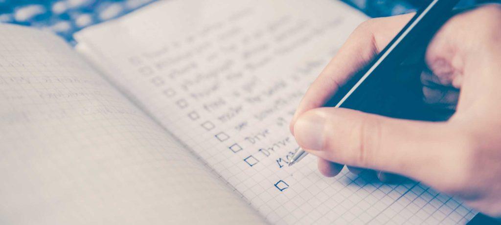 Redaction checklist dans un cahier