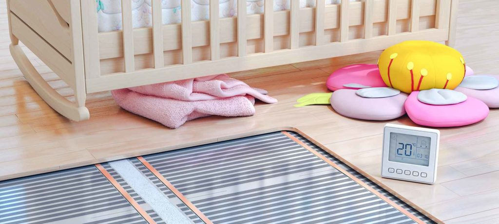 new baby room with visible heated wooden floor, what type of floor for heated floors